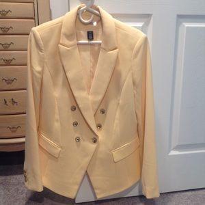 WHBM yellow blazer sz 12. Fully lined. Hardly worn